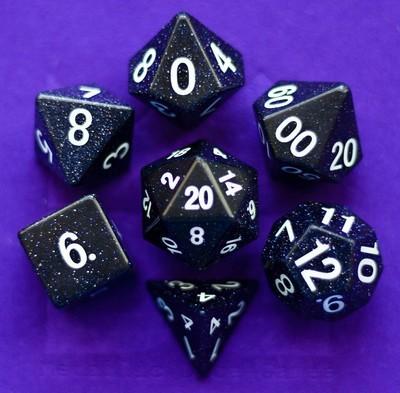 Blue Sandstone: Full-Sized 16mm Polyhedral Dice Set