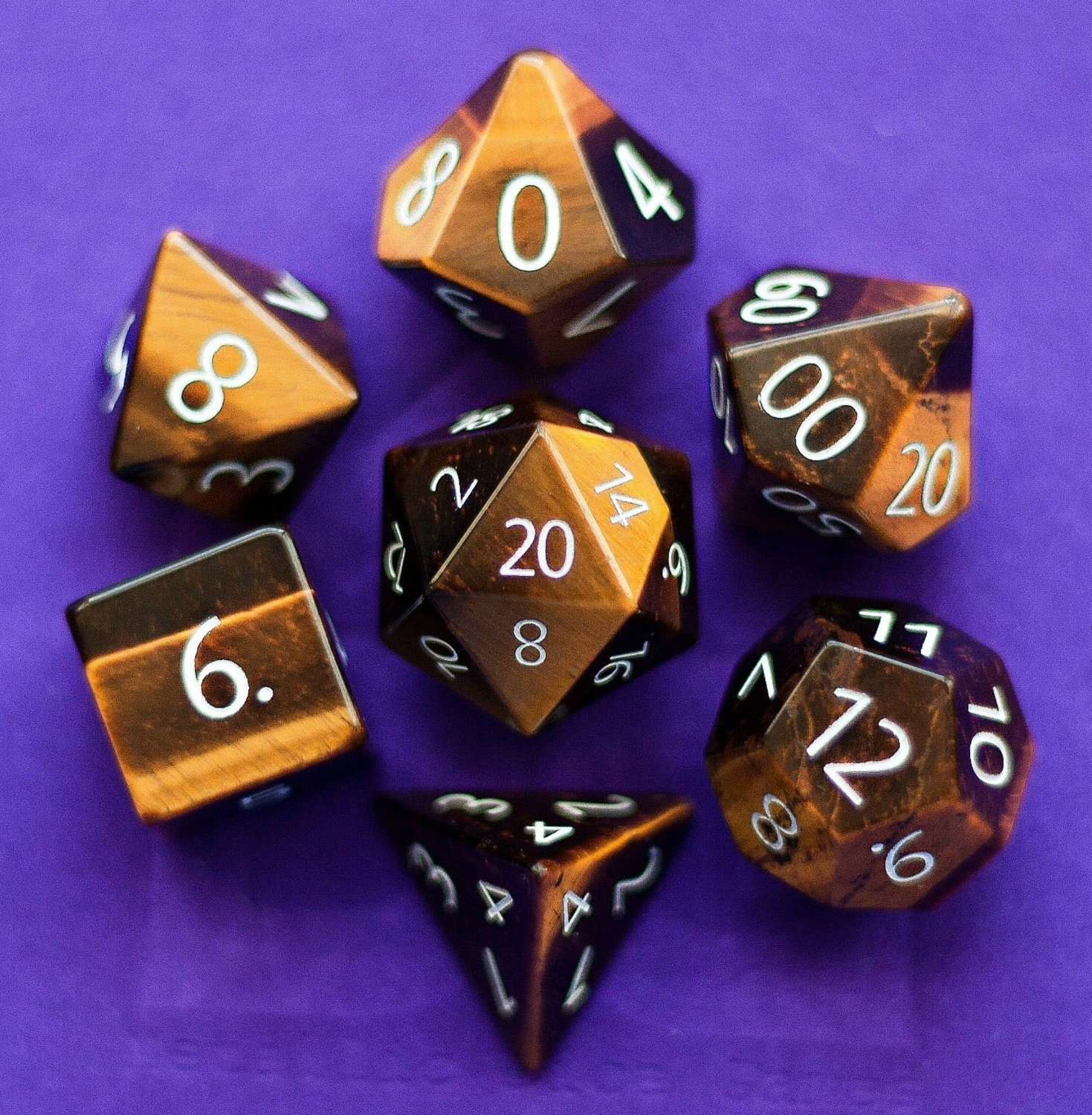 Tiger's Eye: Full-Sized 16mm Polyhedral Dice Set