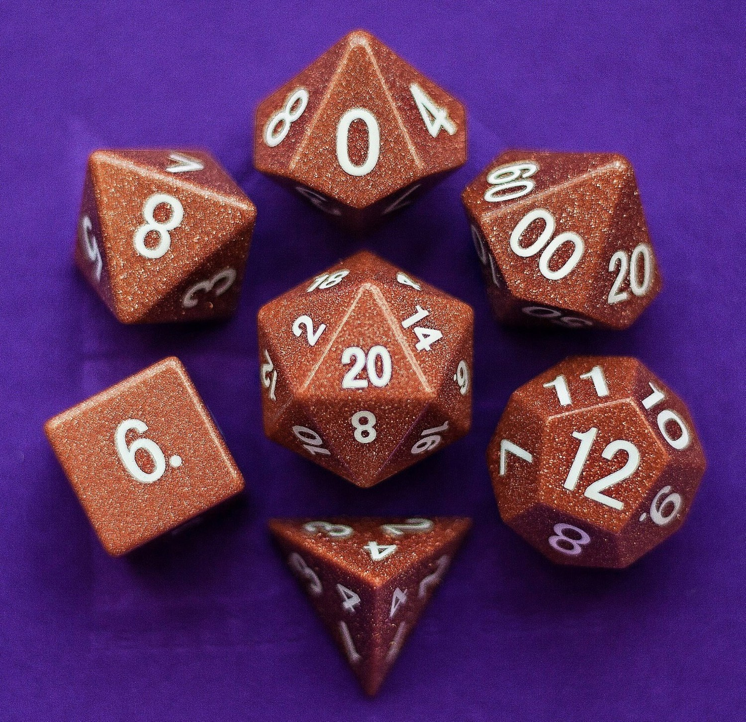 Goldstone: Full-Sized 16mm Polyhedral Dice Set