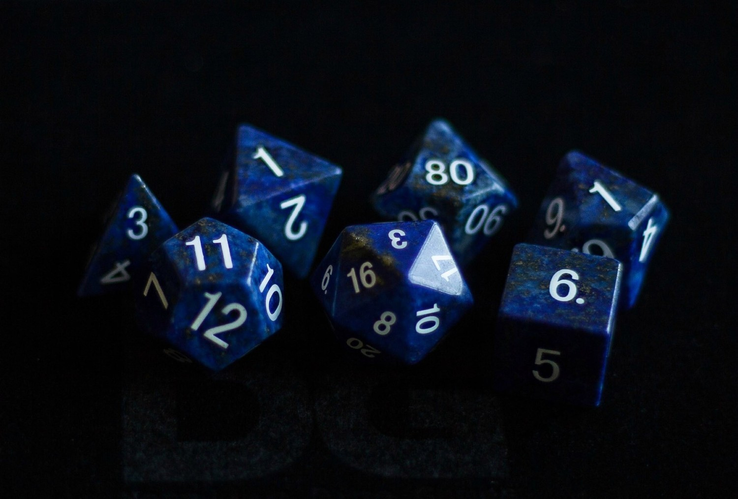 Lapis Lazuli: Full-Sized 16mm Polyhedral Dice Set