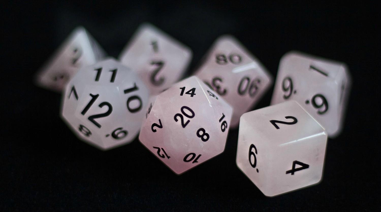 Rose Quartz: Full-Sized 16mm Polyhedral Dice Set