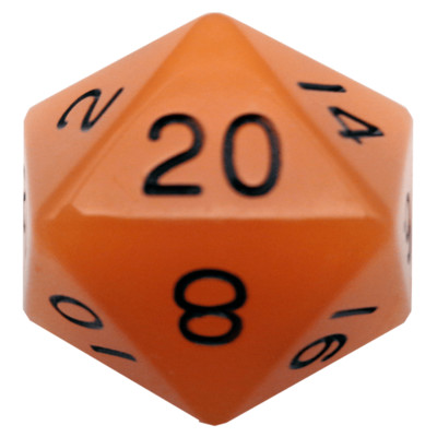 Glow in the Dark Orange 35mm Mega Acrylic d20 Dice
