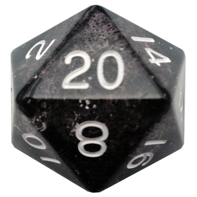 Ethereal Black 35mm Mega Acrylic d20 Dice