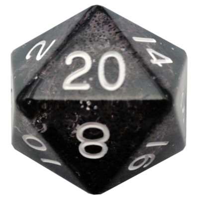 Ethereal Black 35mm Mega Acrylic d20 Dice
