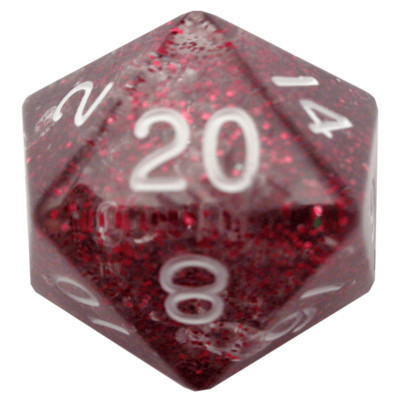 Ethereal Light Purple 35mm Mega Acrylic d20 Dice