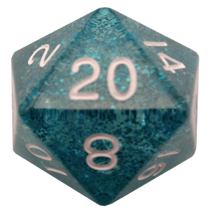 Ethereal Light Blue 35mm Mega Acrylic d20 Dice