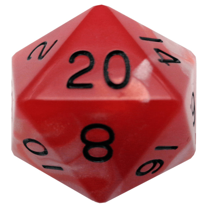 Red/White with Black Numbers 35mm Mega Acrylic d20 Dice