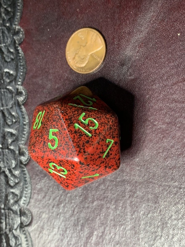 Jumbo 34mm Speckled D20 Die Red & Black with Green Extra Large Counter Dice