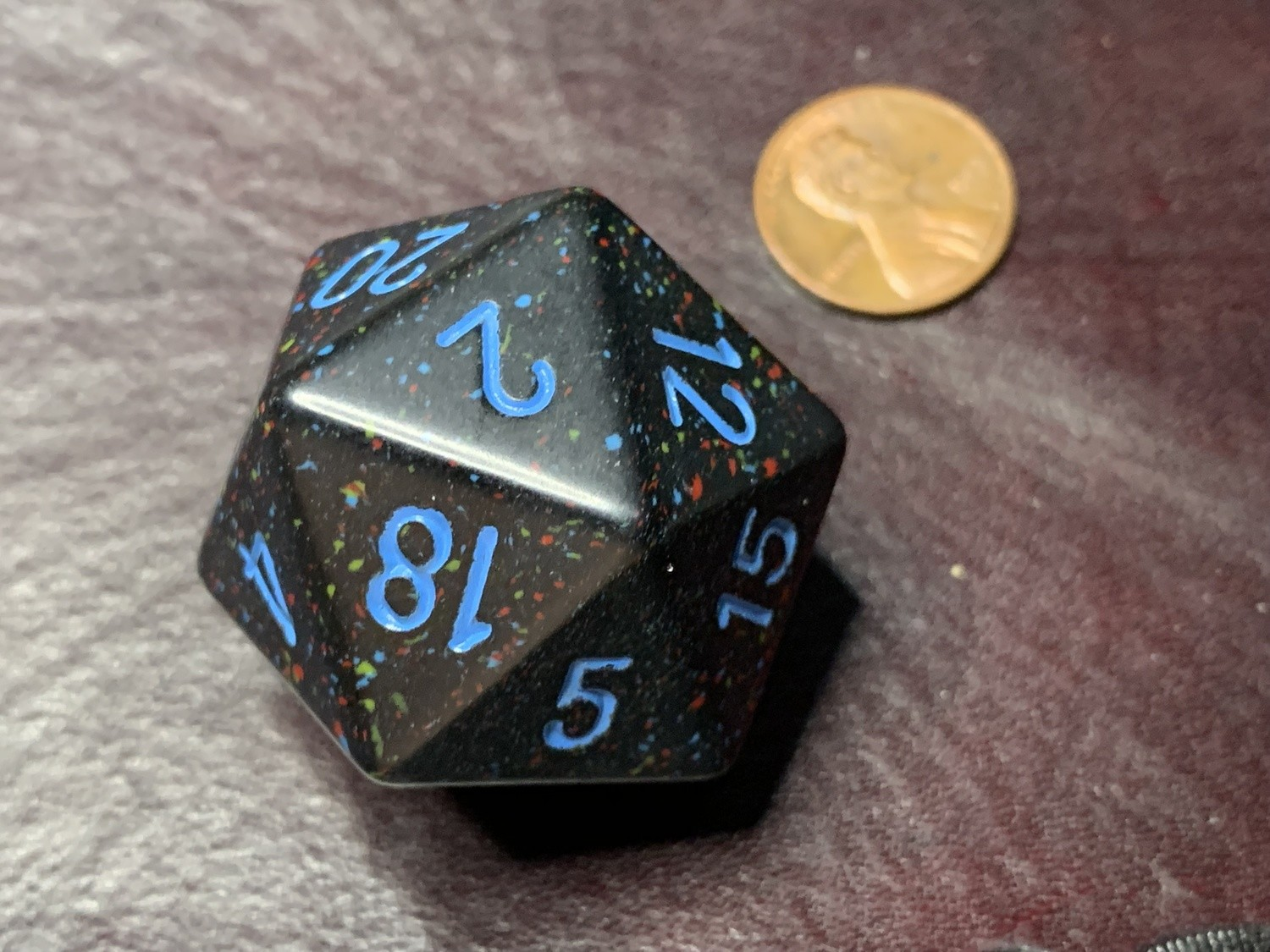 Jumbo 34mm Speckled D20 Die Black & Red with Blue Extra Large Counter Dice