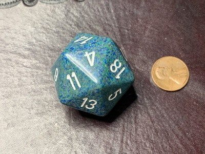 Jumbo 34mm Speckled D20 Die Teal, Blue, Green with White Extra Large Counter Dice