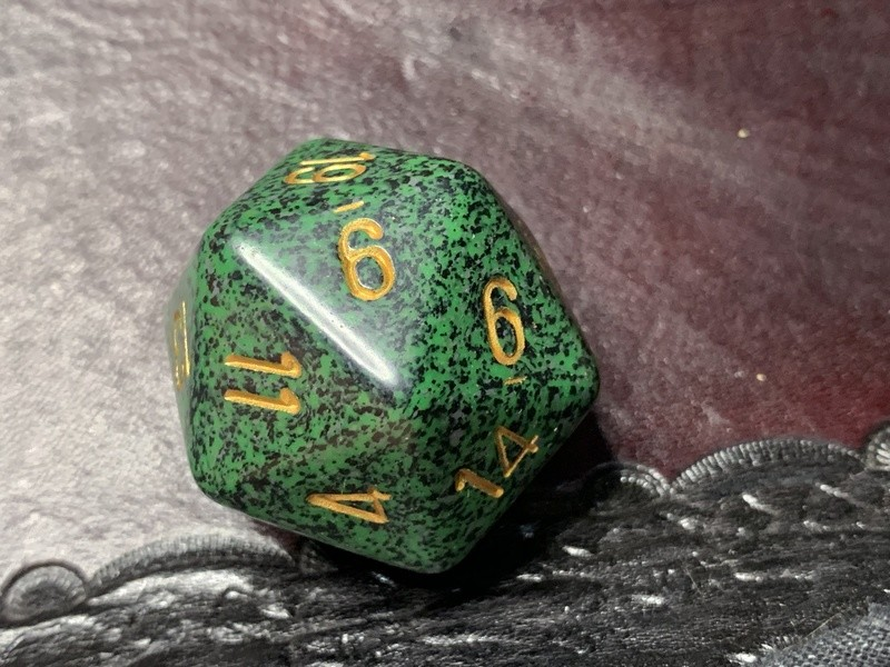 Jumbo 34mm Speckled D20 Die Black & Green with Gold Extra Large Counter Dice