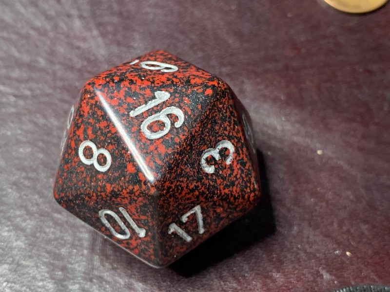 Jumbo 34mm Speckled D20 Die Black & Red with Silver Extra Large Counter Dice