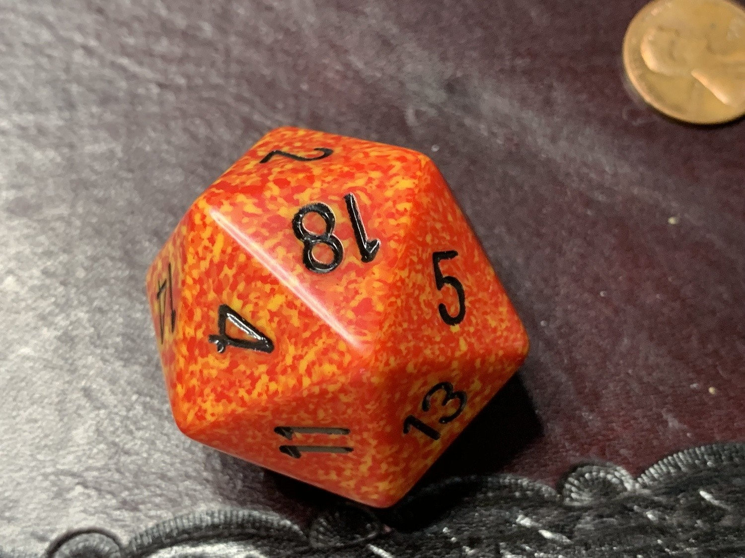 Jumbo 34mm Speckled D20 Die Orange & Red with Black Extra Large Counter Dice