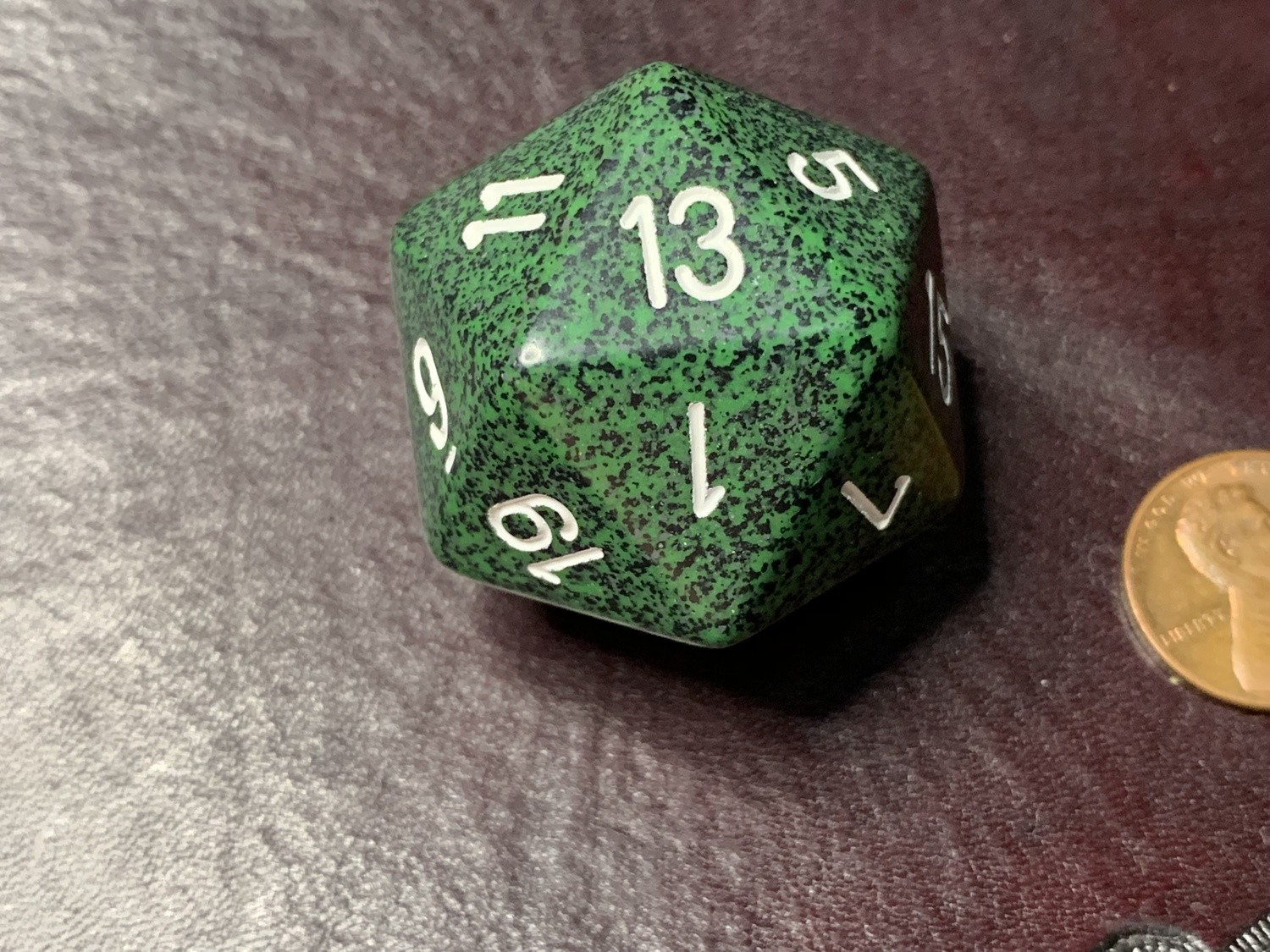 Jumbo 34mm Speckled D20 Die Green & Black with White Extra Large Counter Dice