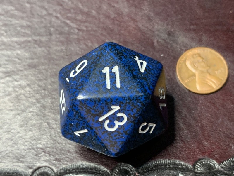Jumbo 34mm Speckled D20 Die Blue & Black with White Extra Large Counter Dice