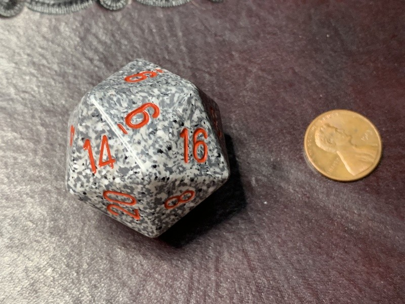 Jumbo 34mm Speckled D20 Die White & Grey with Red Extra Large Counter Dice