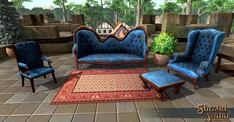 Vintage Blue Velvet with Nailheads Arm Chair (NOT Vault) - Shroud of the Avatar