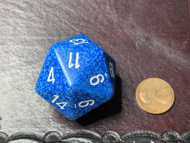 Jumbo 34mm Speckled D20 Light & Dark Blue with White Extra Large Counter Dice