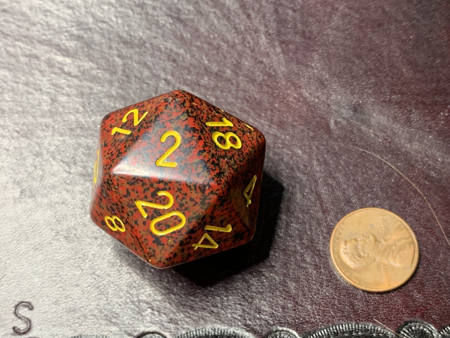 Jumbo 34mm Speckled D20 Red & Black with Yellow Extra Large Counter Dice