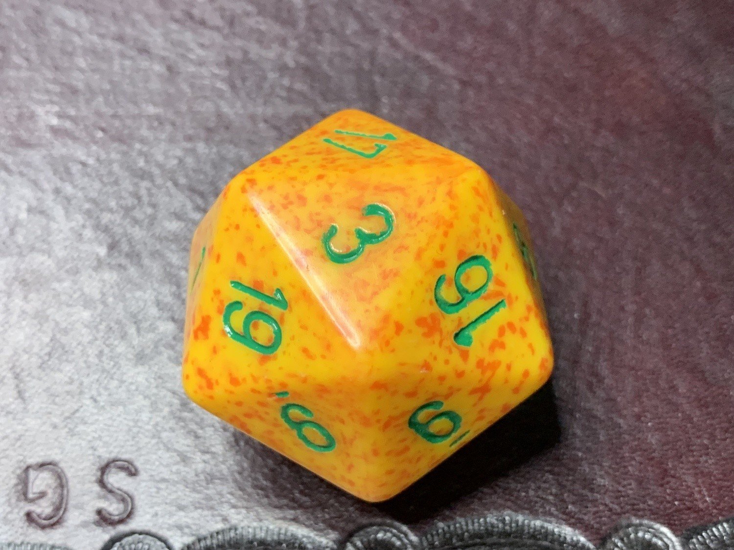 Jumbo 34mm Speckled D20 Orange & Yellow with Green Extra Large Counter Dice