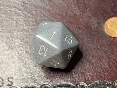 Jumbo 34mm Speckled D20 Black & Gray with Silver Extra Large Counter Dice