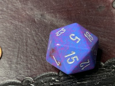 Jumbo 34mm Speckled D20 Purple & Blue with Silver Extra Large Counter Dice