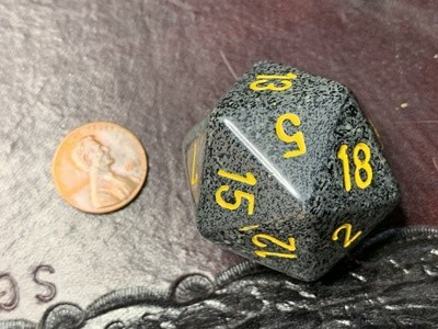 Jumbo 34mm Speckled D20 Black & Gray with Yellow Extra Large Counter Dice