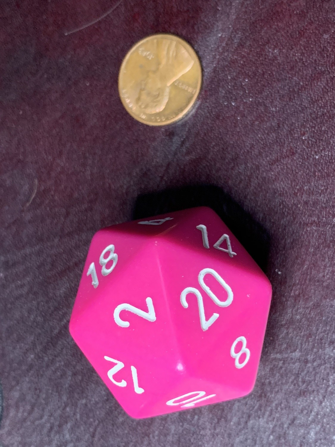 Jumbo 34mm D20 Pink with White Extra Large Counter Dice
