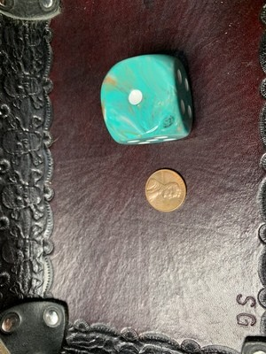 Jumbo 30mm D6 Die - Oxi-copper with White Extra Large Counter Dice