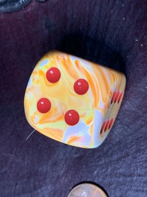 Jumbo 30mm D6 Die - Festive Sunburst with Red Extra Large Counter Dice