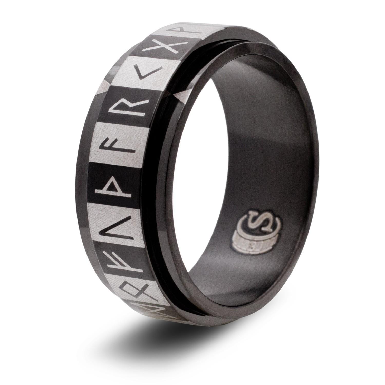 Elder Futhark Runes Ring, Black, Blue, Gold, or Rainbow