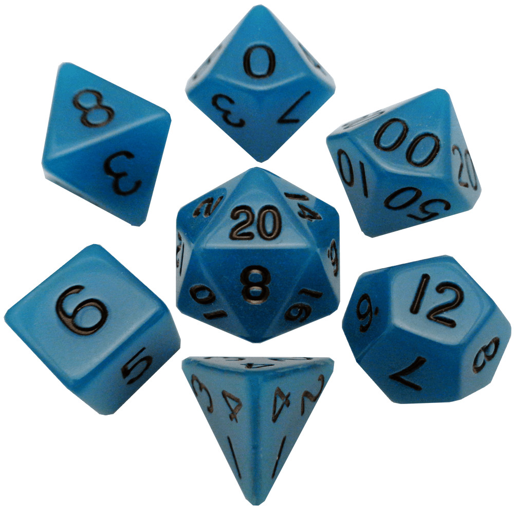 Glow in the Dark Blue 16mm Polyhedral Dice Set