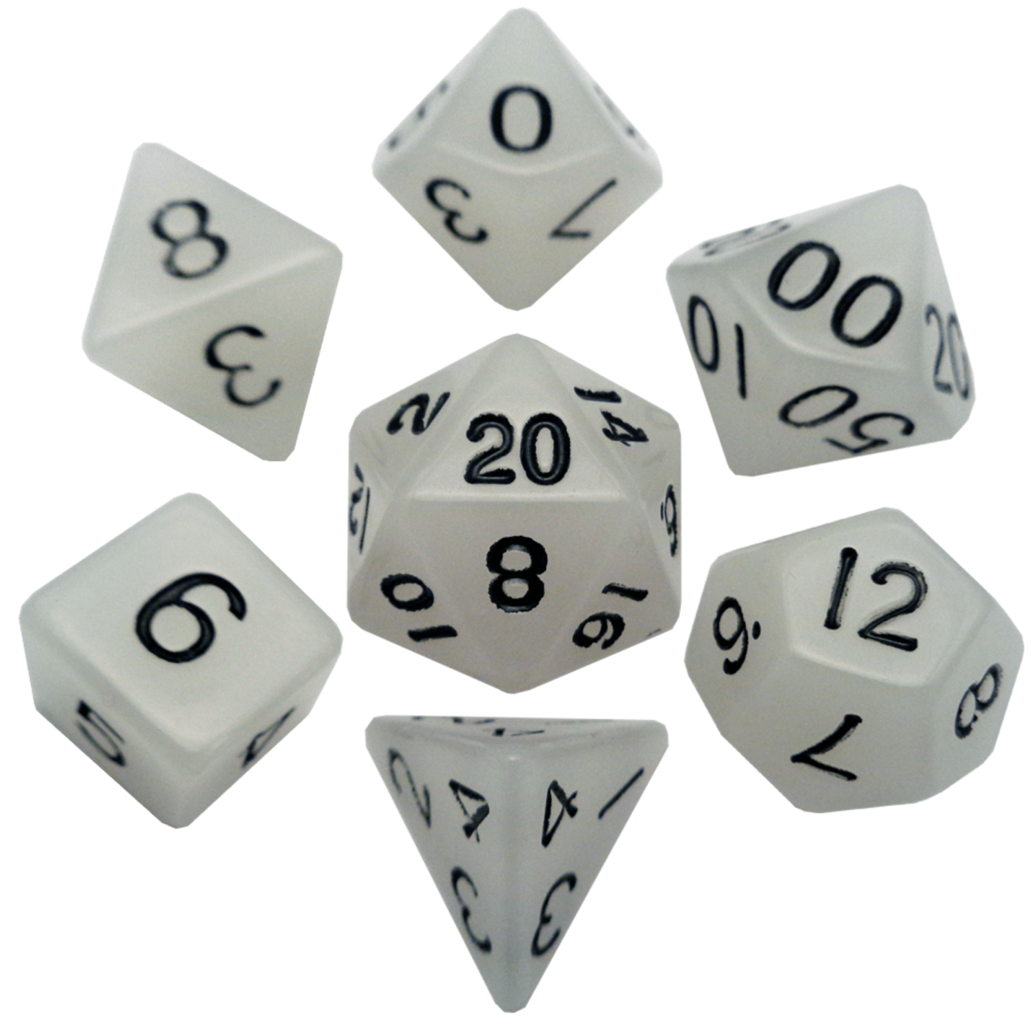 Glow in the Dark Clear 16mm Polyhedral Dice Set