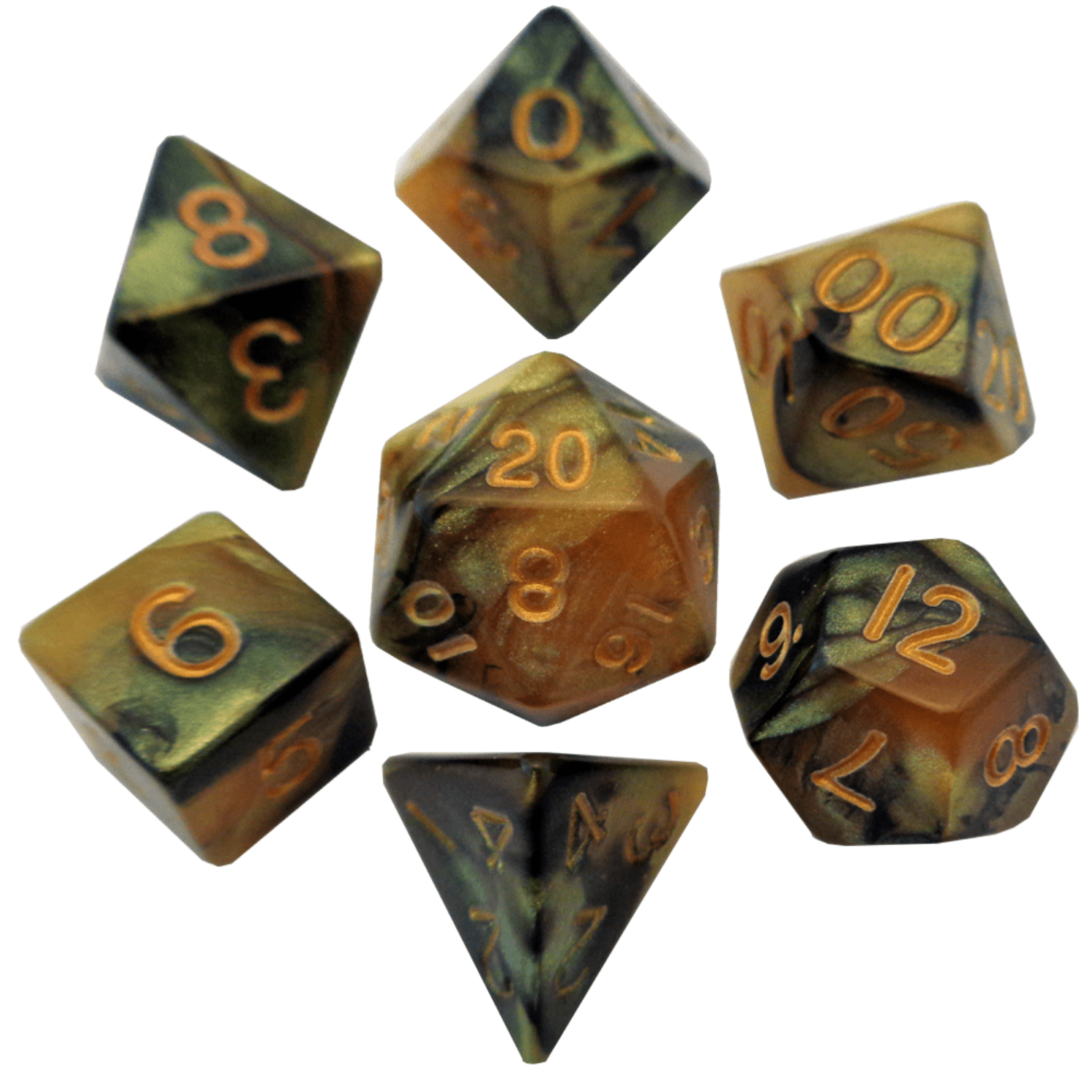 Black/Yellow with Gold Numbers 16mm Polyhedral Dice Set