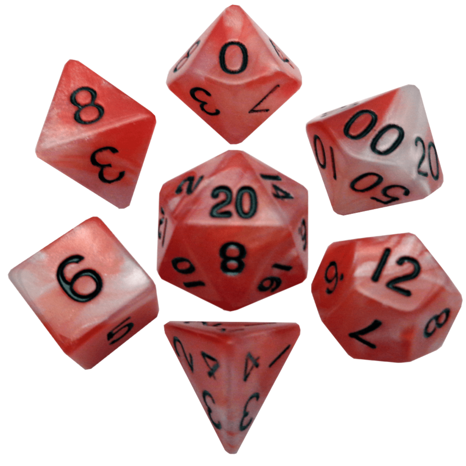 Red/White with Black Numbers 16mm Polyhedral Dice Set