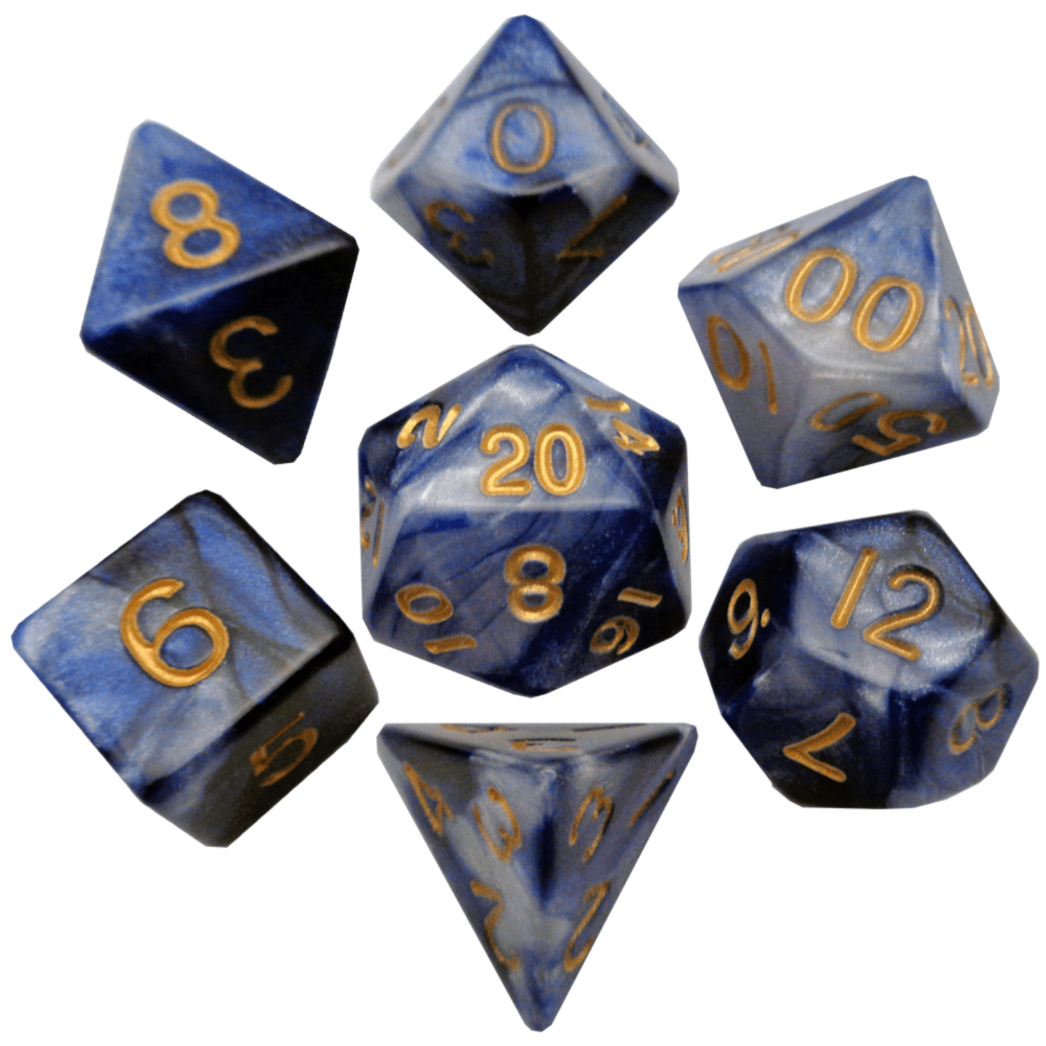 Blue/White with Gold Numbers 16mm Polyhedral Dice Set