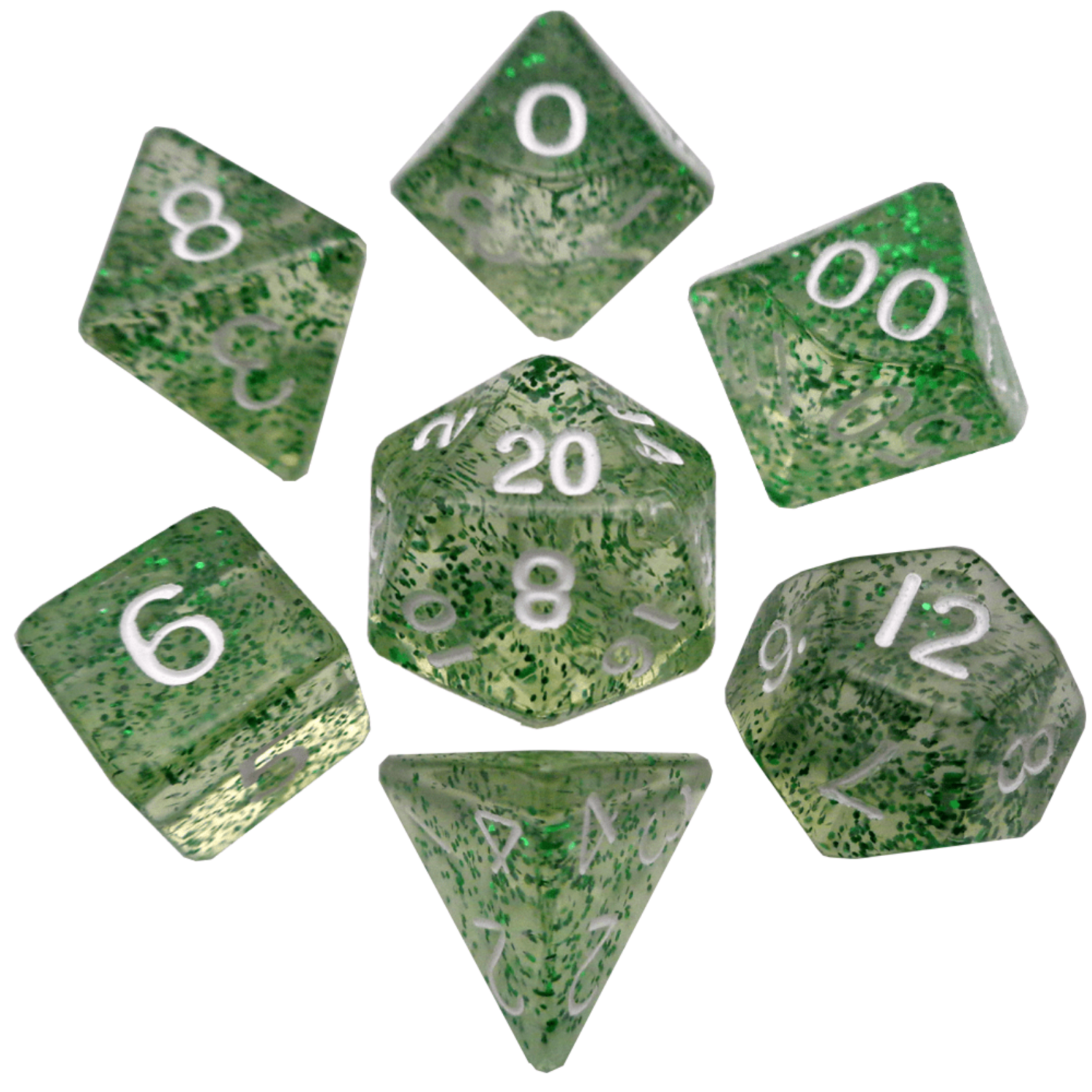 Ethereal Green 16mm Polyhedral Dice Set