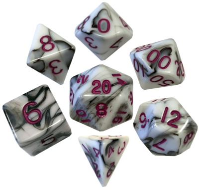 Marble with Purple Numbers 16mm Polyhedral Dice Set