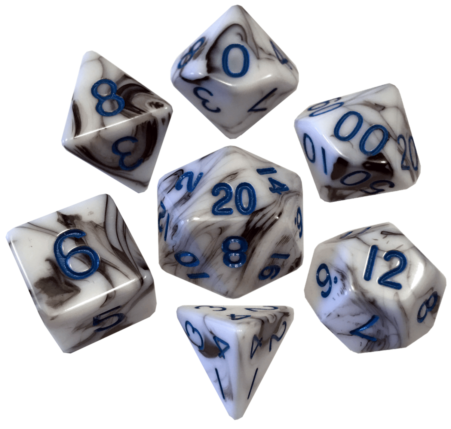 Marble with Blue Numbers 16mm Polyhedral Dice Set