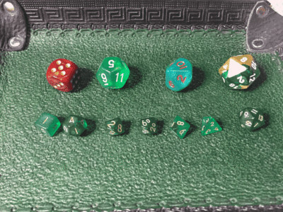 Clear Dark Green-Gold 10MM Mini Polyhedral 7-Die Roleplaying Dice Game Counters