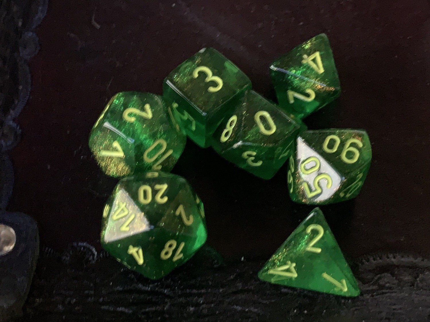 Polyhedral Dice Set -  Borealis Maple Green with Yellow