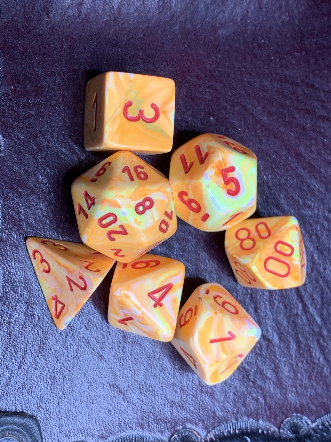 7 Die Polyhedral Dice Set -  Festive Sunburst with Red