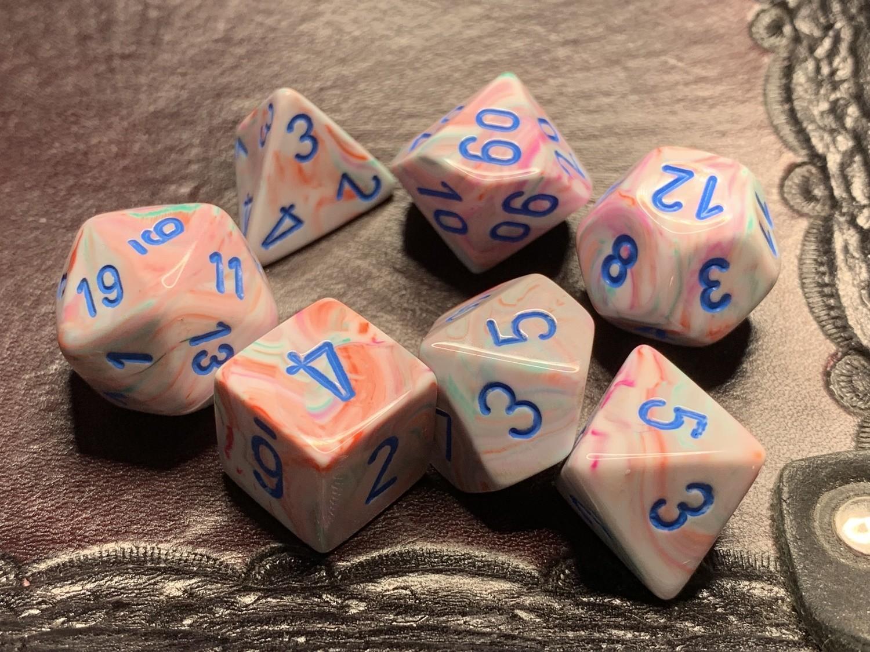 7 Die Polyhedral Dice Set -  Festive Pop Art with Blue