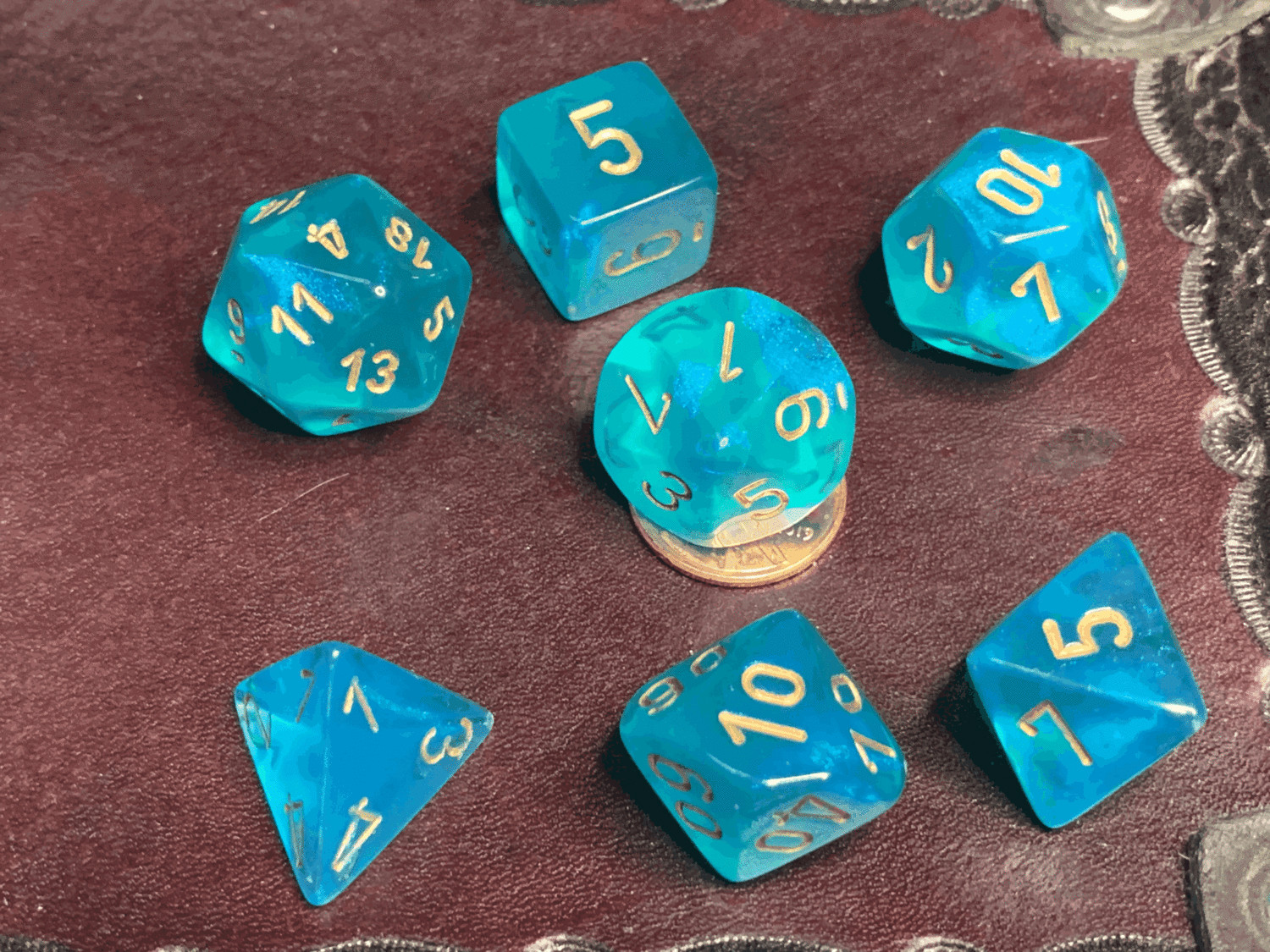 16mm 7 Die Polyhedral Dice Set - Borealis Teal with Gold