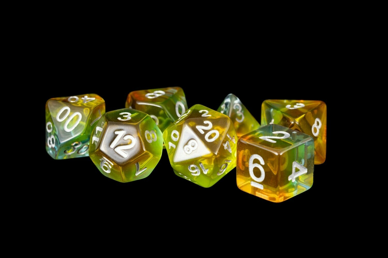 Yellow Aurora 16mm Resin Poly Dice Set