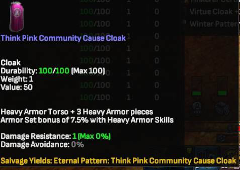 Think Pink Community Cause Cloak - Shroud of the Avatar
