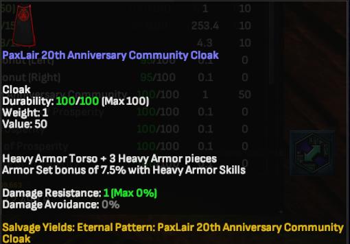 Paxlair 20th Anniversary Community Cloak - Shroud of the Avatar