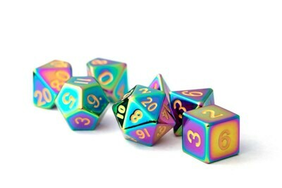 Metal Torched Rainbow 16mm Polyhedral Dice Set (or Individually)