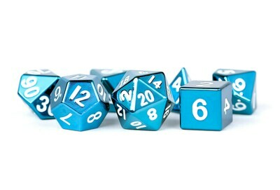 Metal Blue 16mm Polyhedral Dice Set (or Individually)