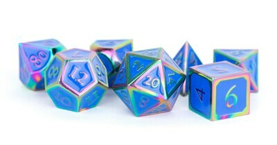 Metal Rainbow with Blue Enamel 16mm Polyhedral Dice Set (or Individually)